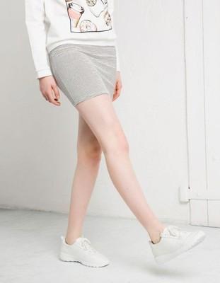 94be8886d056b BERSHKA Biała spódnica mini w paski (L) - 6603104052 - oficjalne ...
