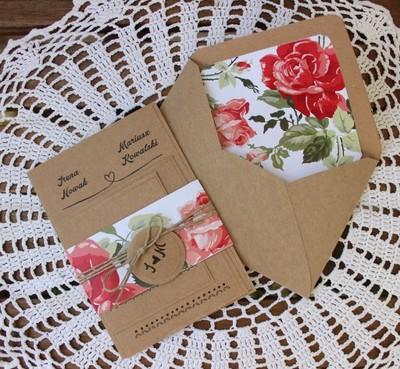 Zaproszenia ślubne Eko Kwiaty Floral Róże Vintage 6716037071