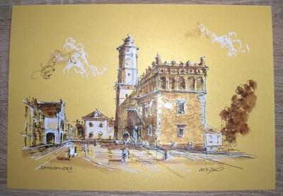 Sandomierz ,sepia, złoty A4