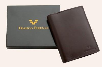 2856b75c1a0c9 Skórzany brązowy pionowy portfel męski Franco - 5850299590 ...