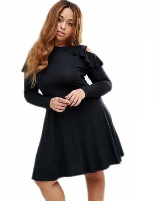 d909e9e779 sukienka PLUS +size CZARNA ramiona TIUL 54 26 - 6685470753 ...