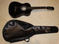 Gitara czarna z pokrowcem