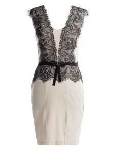 9ddfce400f Sukienka czarno-biała z koronką Rinascimento 38-M - 6316671241 ...