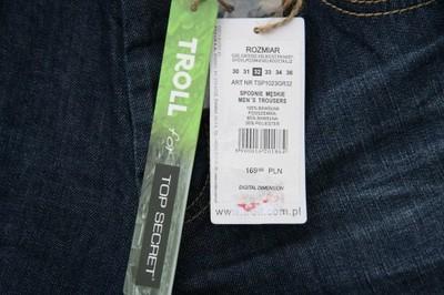 spodnie jeans TOP SECRET ,TROLL rozm 32..