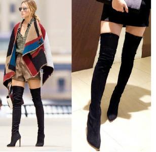 4ad04fac69799 Kozaki za kolano styl Olivia Palermo zamszowe - 5943001741 ...