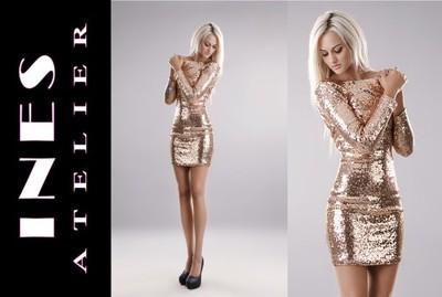 Ines Atelier Sukienka Zlote Cekiny Sylwester Xl 6643978192 Oficjalne Archiwum Allegro