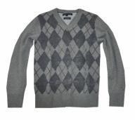 Tommy Hilfiger sweter sweterek wełniany romby 134