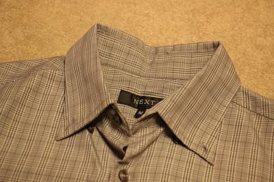 Koszula męska Next w kratę, krótki rękaw, szara