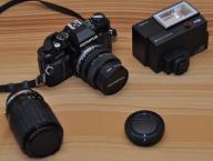 Stary aparat OLYMPUS OM40 + 2 obiektywy + lampa
