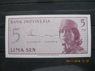 117. Banknot Indonezja 5 sen  UNC