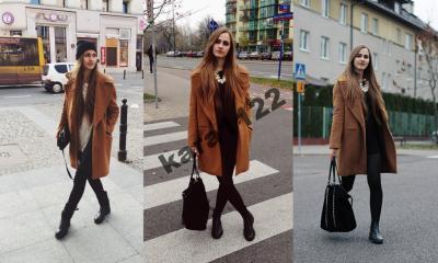 Rudy beżowy płaszcz ZARA M idealny jesień CAMEL