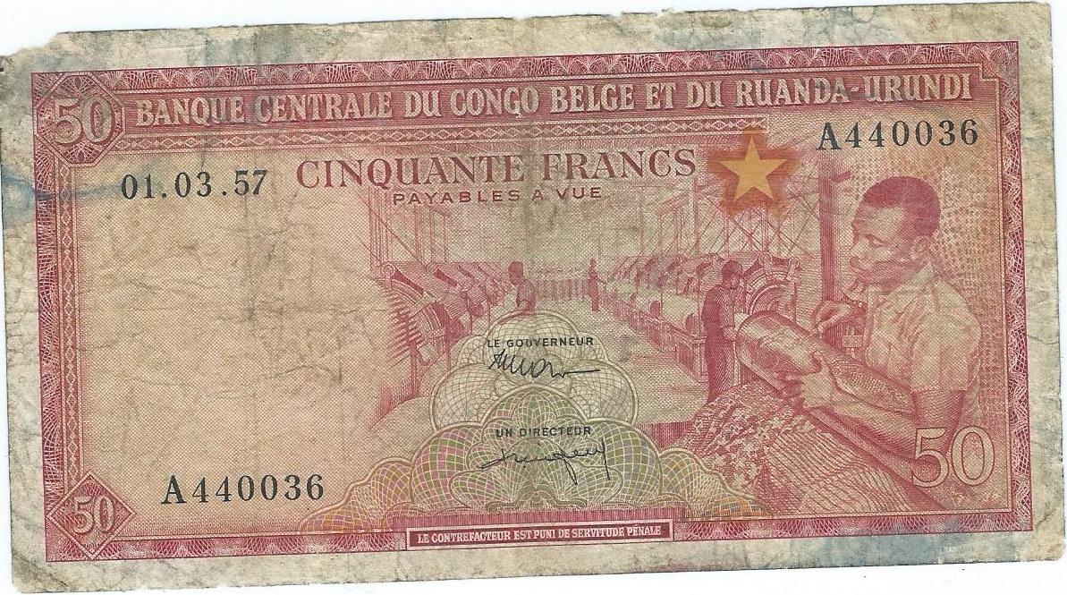 Kongo Belgijskie 50 francs 1957r. rzadki