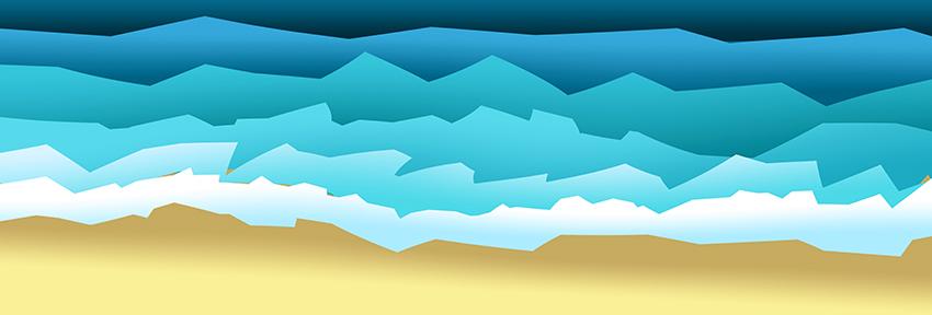 Grafika na papierze foto - morze