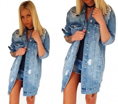 długa kurtka jeansowa damska allegro