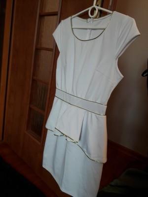 3406494d6f sukienka baskinka złoty pasek biała 36 S - 6655656342 - oficjalne ...