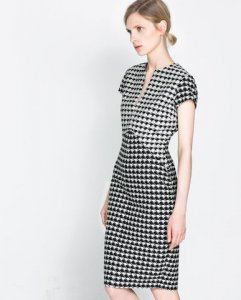 40c7820871 Sukienka ołówkowa ZARA w pepitkę