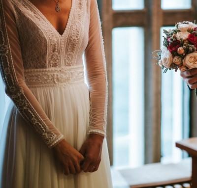 d7b81d81 Suknia ślubna Gaja długi rękaw r xs 34 - 6700498205 - oficjalne ...