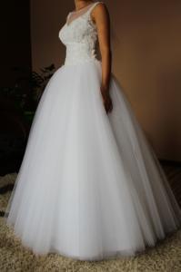 Suknia ślubna Tiul Brokat Dla Księżniczki 34xs 36s 6368423136