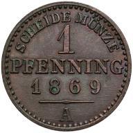 050. Prusy 1 fenig 1869-A st.2/2+