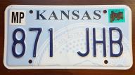 Kansas 2016 - tab rejestracyjna USA