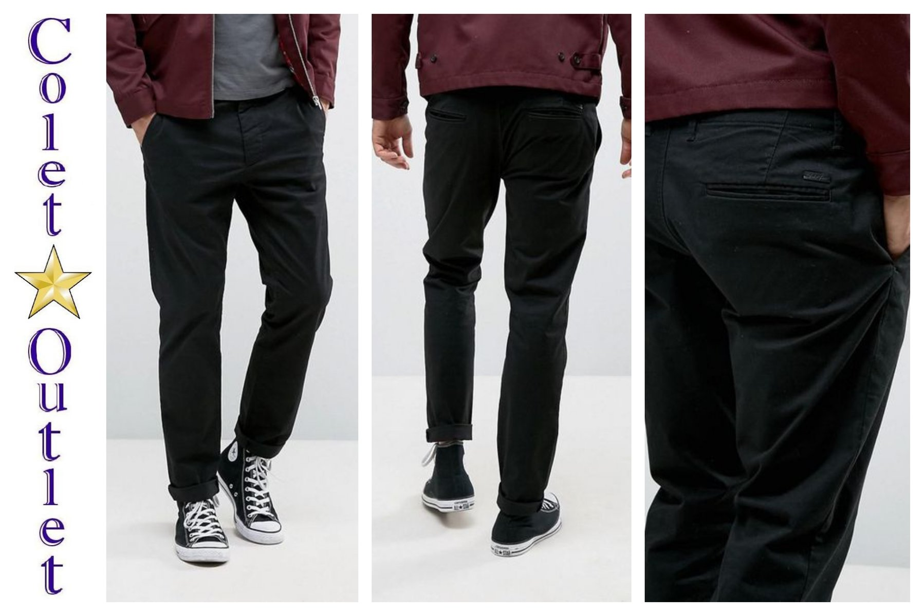 mo57 spodnie czarne chinos slim fit W32 L34