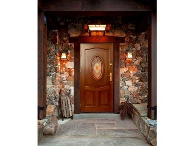 Ogromnie Drzwi zewnętrzne drewniane z witrażem - PRODUCENT - 6589889589 LA16