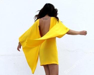 e39e4ae388 POSZUKIWANA ZARA żółta PELERYNA dekolt plecy S - 5623095201 ...