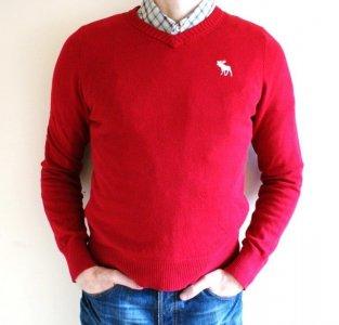 Sweter Abercrombie&Fitch czerwony roz L