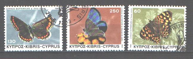 Znaczki  Motyle seria kas  Cypr Turecki