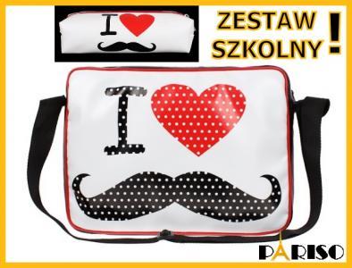 dd70e59af3eeb Torba szkolna I Love Wąsy młodzieżowa A-4 Nowość - 4418630656 ...
