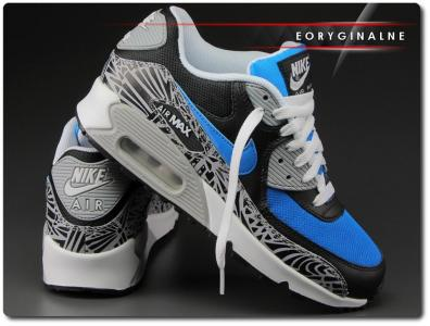 Nike Air Max 90 Prem Mesh GS (724882 101) czarno biało szare