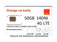 50 GB ORANGE FREE 14DNI INTERNET NA KARTĘ SIM NANO
