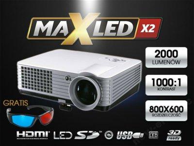 RZUTNIK PROJEKTOR LED HDMI USB XBOX 2000 lum. FV