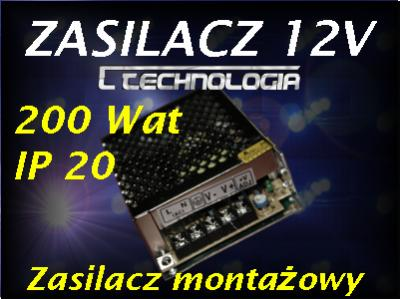 Zasilacz do taśm LED AC 230V /DC12V 200W IP20 Z200