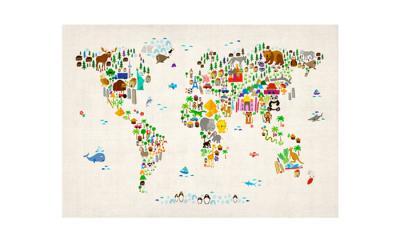 Mapa Świata Kreskówkowa 58 cm x 84cm