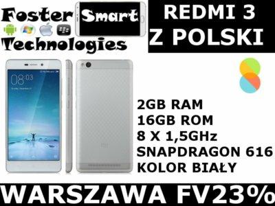 Xiaomi Redmi 3 2/16 BIAŁY jez. Polski Wwa FV23%