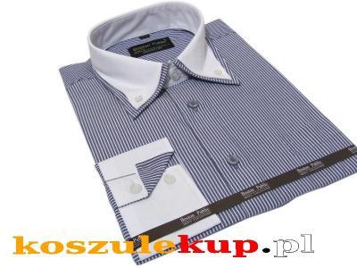4142 Modna koszula męska SLIM biały kołnierzyk 4172756651  zz9Sv