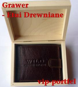 3ef4985ea72b8 Portfel męski brązowy SKÓRA + GRAWER Etui drewno - 4404865822 ...