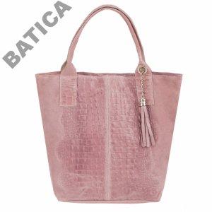 018e7452c7994 różowa Włoska SKÓRZANA torebka A4 WOREK KROKODYL - 6214899133 ...