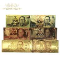 Tajlandia 20 50 100 500 1000 Bahtów pozłacane 6 sz