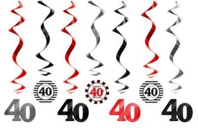 40 Urodziny Dekoracje Urodzinowe świderki 7szt 4577571236