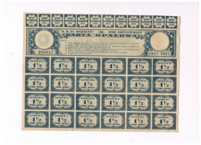 KARTA OPAŁOWA 1 i pół 1921-22 kartki Warszawa