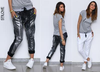 7ea59a81e3a7 STILOVE bawełniane BAGGY spodnie HIT srebro UNI - 5613240814 ...