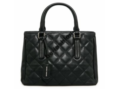 MANGO nowa czarna pikowana torebka kuferek A4