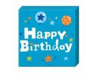 Serwetki urodzinowe niebieskie 33cm 20szt Urodziny