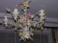 Piękny żyrandol z kwiatami SHABBY CHIC.