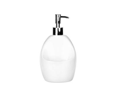 Biały dozownik do mydła, płyn z miejscem na gąbke