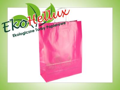 Torba papierowa różowa 31x12x41 torebki A3 ozdobna