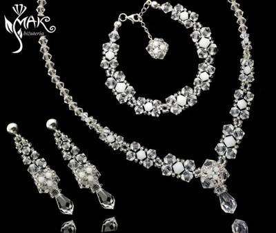 Biżuteria Ślubna SREBRNA Komplet 3el SWAROVSKI