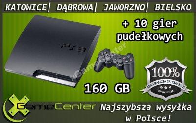 KONSOLA PS3 160GB + 10 GIER W PUDEŁKU @ GWAR 6 M-C